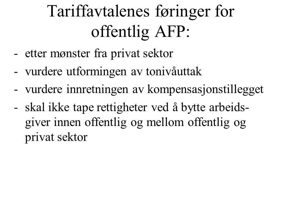 Tariffavtalenes føringer for offentlig AFP: -etter mønster fra privat sektor -vurdere utformingen av tonivåuttak -vurdere innretningen av kompensasjonstillegget -skal ikke tape rettigheter ved å bytte arbeids- giver innen offentlig og mellom offentlig og privat sektor