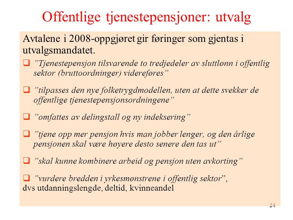 24 Offentlige tjenestepensjoner: utvalg Avtalene i 2008-oppgjøret gir føringer som gjentas i utvalgsmandatet.