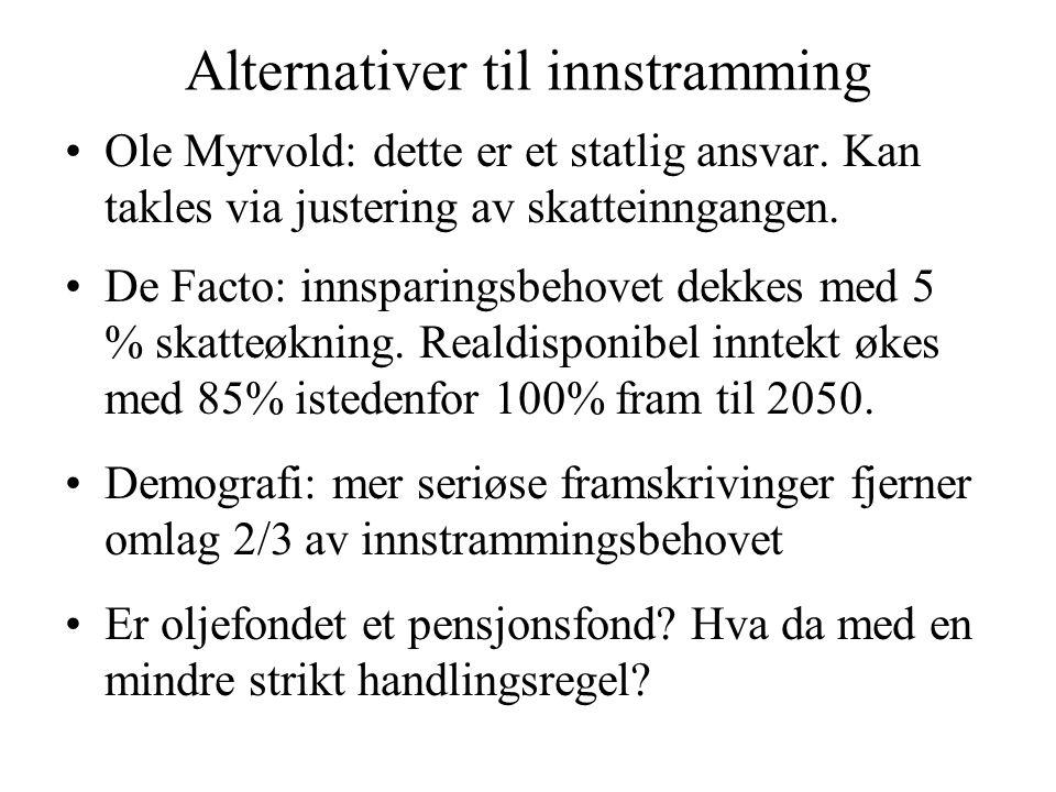 Alternativer til innstramming Ole Myrvold: dette er et statlig ansvar. Kan takles via justering av skatteinngangen. De Facto: innsparingsbehovet dekke