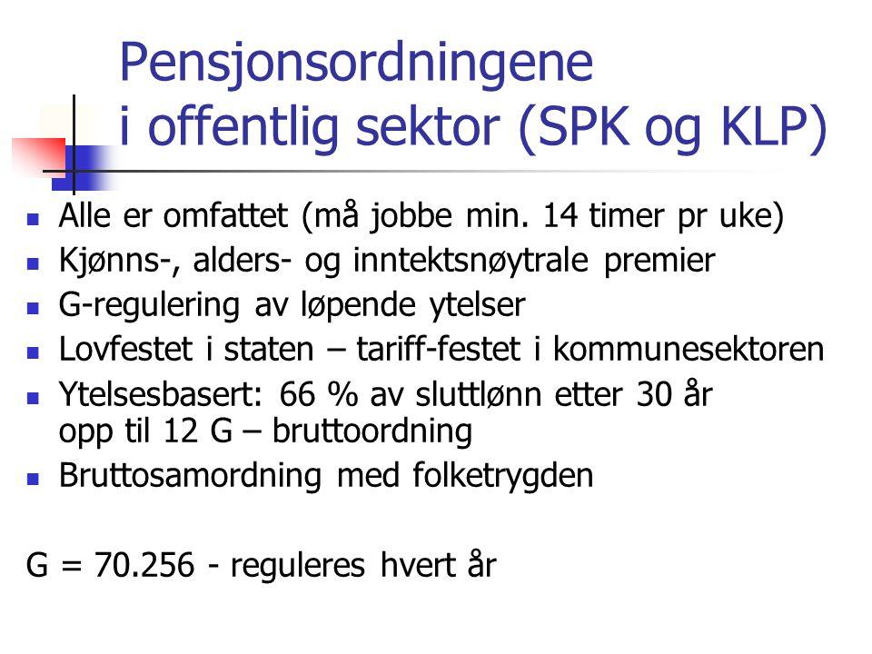 Pensjonsordningene i offentlig sektor (SPK og KLP) Alle er omfattet (må jobbe min. 14 timer pr uke) Kjønns-, alders- og inntektsnøytrale premier G-reg