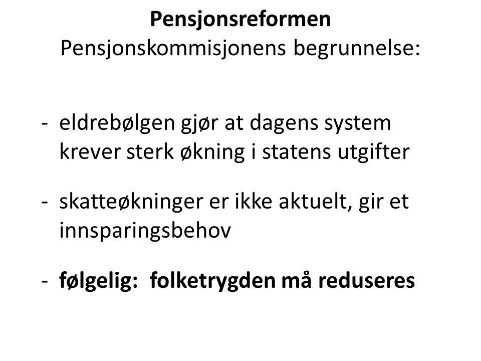 Pensjonsreformen Pensjonskommisjonens begrunnelse: -eldrebølgen gjør at dagens system krever sterk økning i statens utgifter -skatteøkninger er ikke aktuelt, gir et innsparingsbehov - følgelig: folketrygden må reduseres