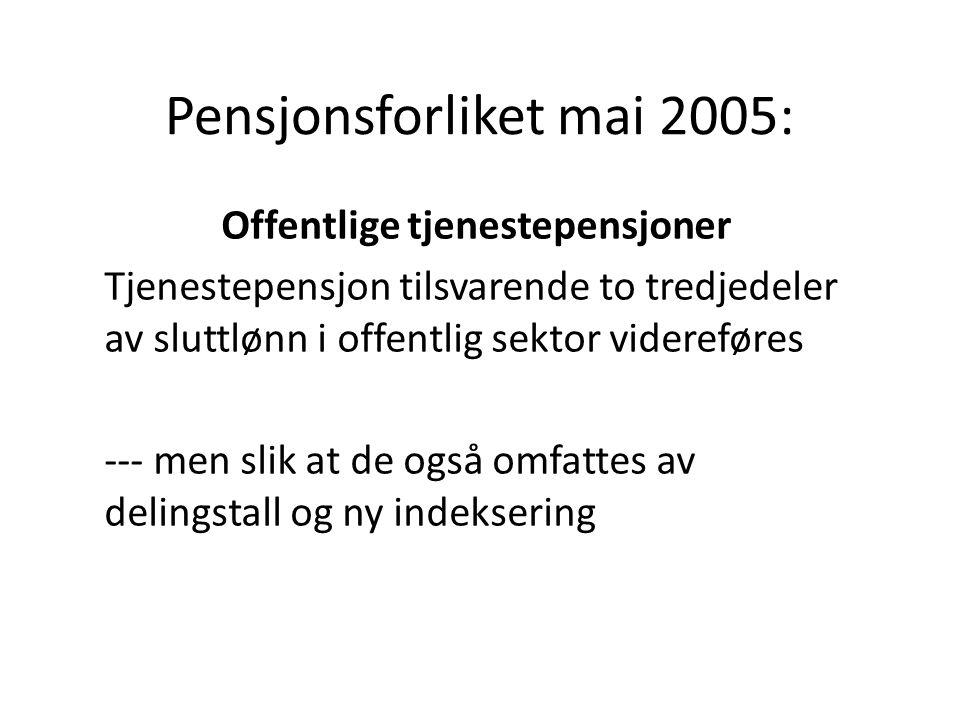 Pensjonsforliket mai 2005: Offentlige tjenestepensjoner Tjenestepensjon tilsvarende to tredjedeler av sluttlønn i offentlig sektor videreføres --- men slik at de også omfattes av delingstall og ny indeksering