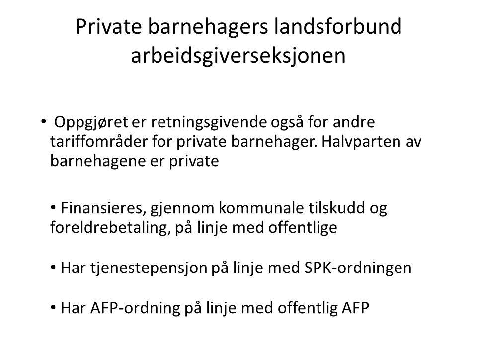Private barnehagers landsforbund arbeidsgiverseksjonen Oppgjøret er retningsgivende også for andre tariffområder for private barnehager.