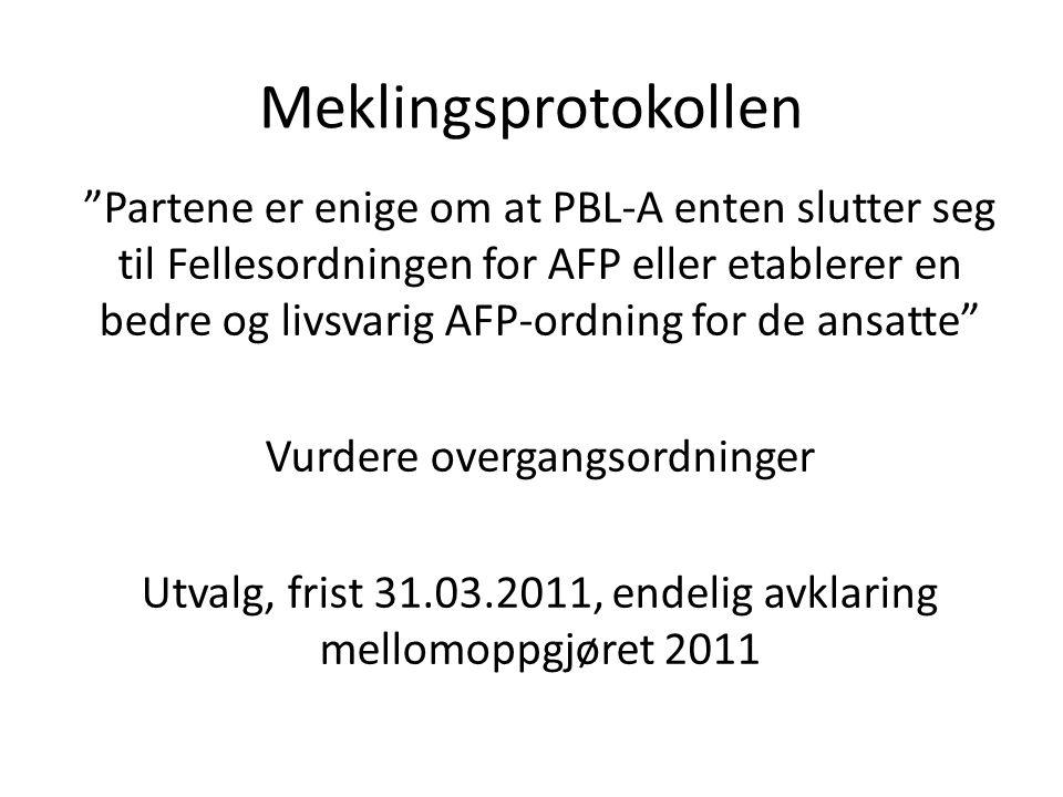 Meklingsprotokollen Partene er enige om at PBL-A enten slutter seg til Fellesordningen for AFP eller etablerer en bedre og livsvarig AFP-ordning for de ansatte Vurdere overgangsordninger Utvalg, frist 31.03.2011, endelig avklaring mellomoppgjøret 2011