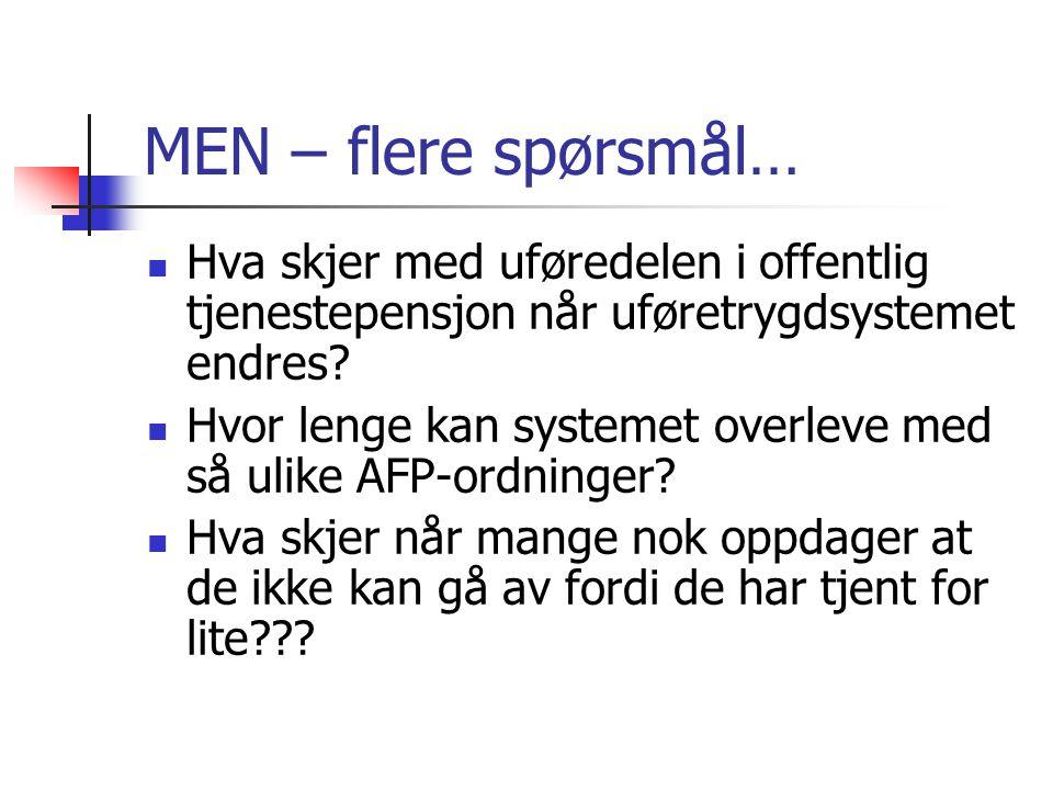 MEN – flere spørsmål… Hva skjer med uføredelen i offentlig tjenestepensjon når uføretrygdsystemet endres.