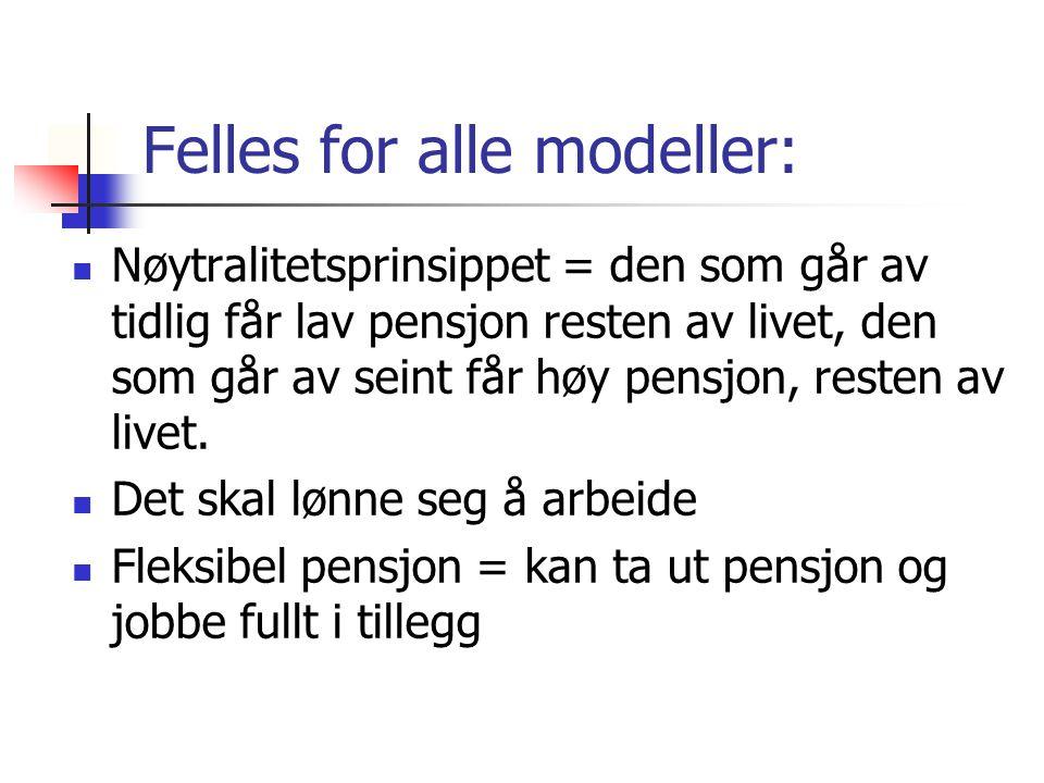 Felles for alle modeller: Nøytralitetsprinsippet = den som går av tidlig får lav pensjon resten av livet, den som går av seint får høy pensjon, resten av livet.