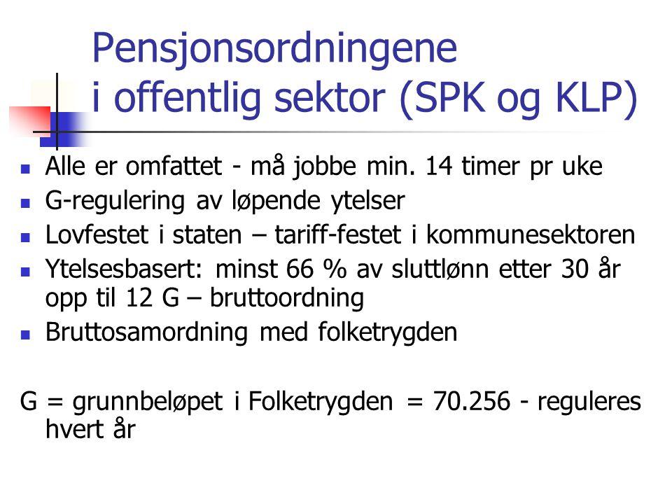 Offentlige tjenestepensjoner Skal tilpasses ny folketrygdmodell Skal omfattes av levealderjustering Skal omfattes av indeksering Den endelige tilpasningen skal skje gjennom forhandlinger mellom partene