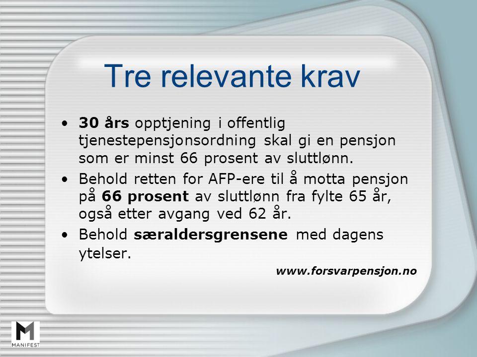 Tre relevante krav 30 års opptjening i offentlig tjenestepensjonsordning skal gi en pensjon som er minst 66 prosent av sluttlønn.