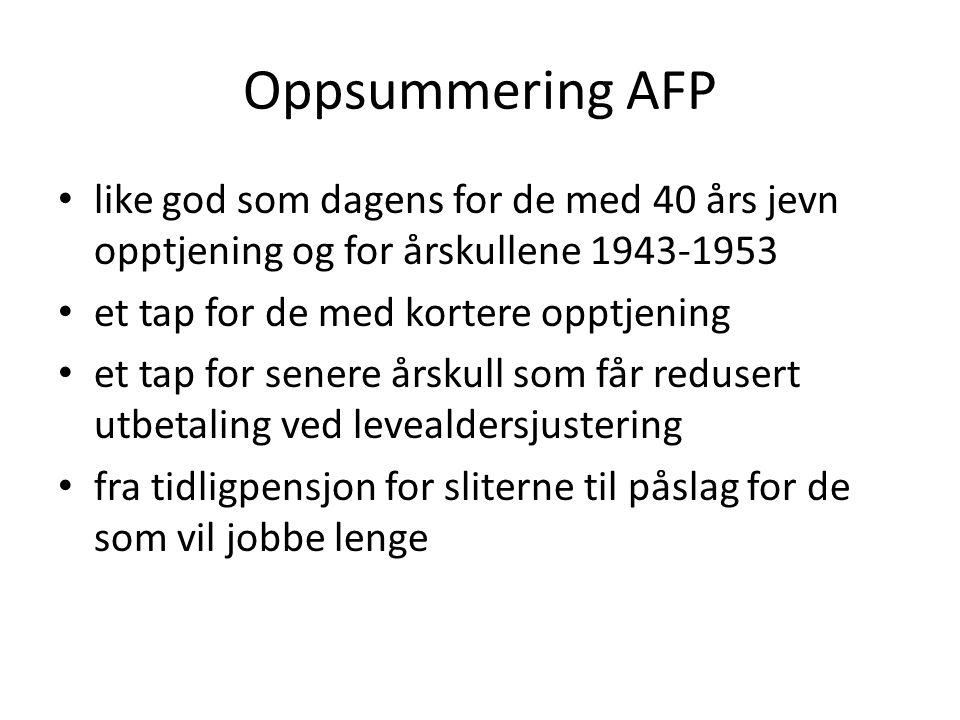 Oppsummering AFP like god som dagens for de med 40 års jevn opptjening og for årskullene 1943-1953 et tap for de med kortere opptjening et tap for sen