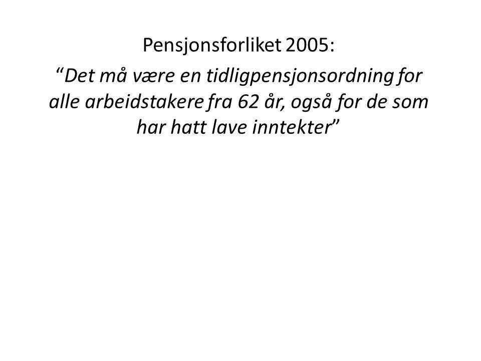 """Pensjonsforliket 2005: """"Det må være en tidligpensjonsordning for alle arbeidstakere fra 62 år, også for de som har hatt lave inntekter"""""""
