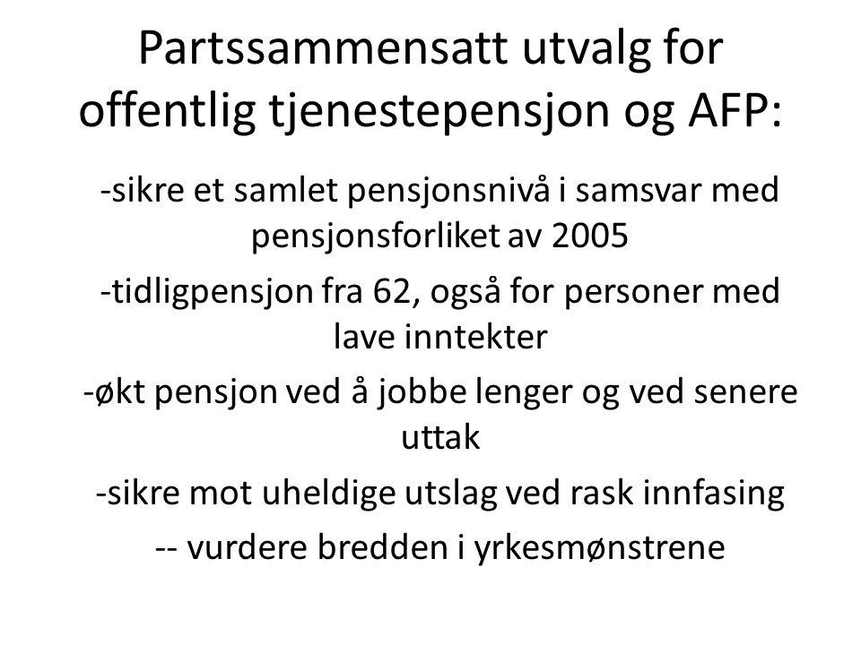 Partssammensatt utvalg for offentlig tjenestepensjon og AFP: -sikre et samlet pensjonsnivå i samsvar med pensjonsforliket av 2005 -tidligpensjon fra 6