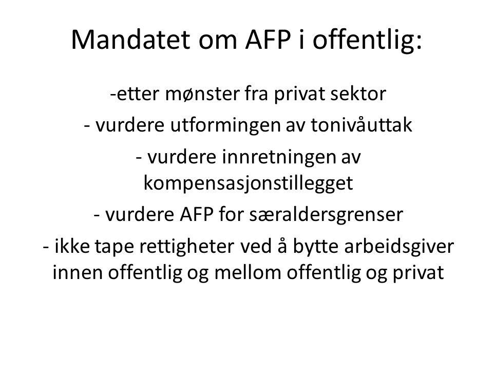 Mandatet om AFP i offentlig: -etter mønster fra privat sektor - vurdere utformingen av tonivåuttak - vurdere innretningen av kompensasjonstillegget -