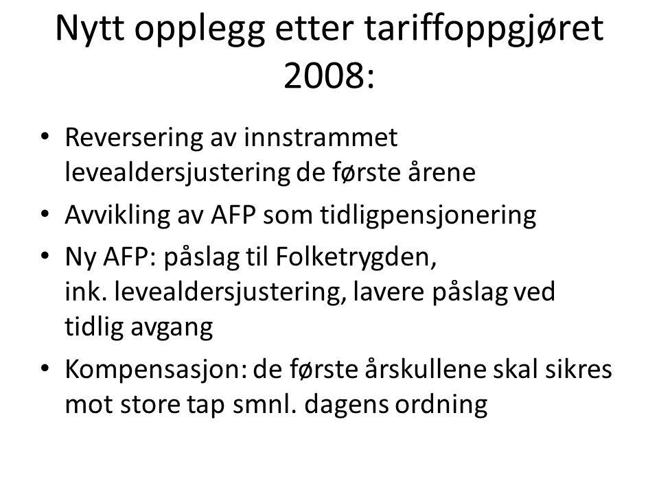 Nytt opplegg etter tariffoppgjøret 2008: Reversering av innstrammet levealdersjustering de første årene Avvikling av AFP som tidligpensjonering Ny AFP