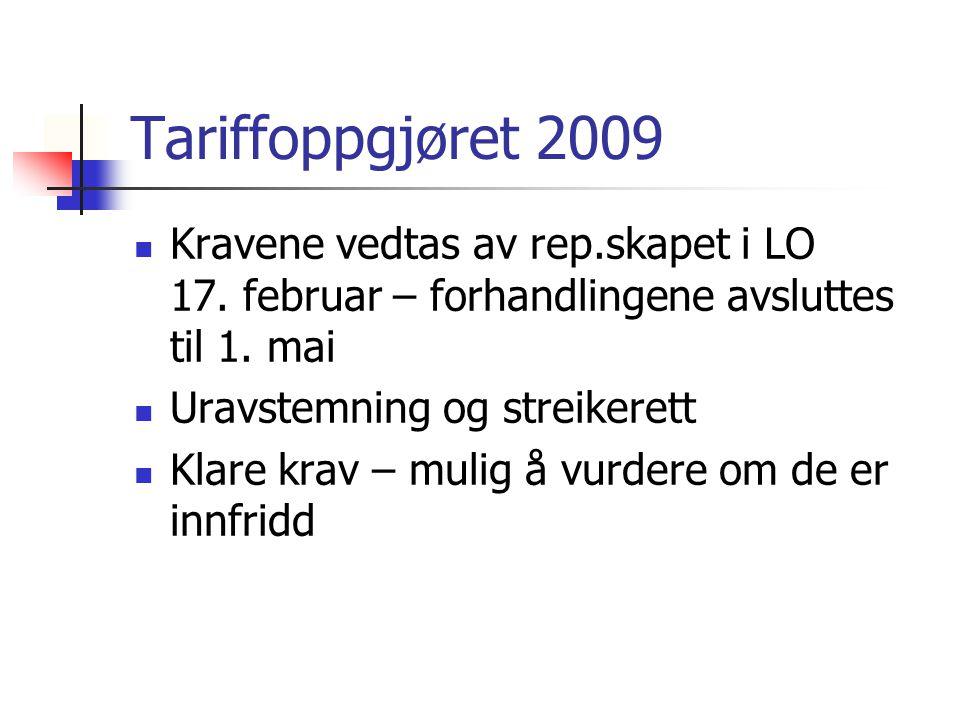 Tariffoppgjøret 2009 Kravene vedtas av rep.skapet i LO 17.