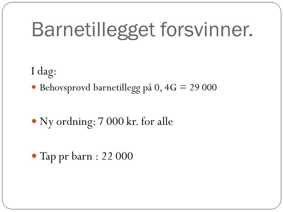 Barnetillegget forsvinner.I dag: Behovsprøvd barnetillegg på 0, 4G = 29 000 Ny ordning: 7 000 kr.