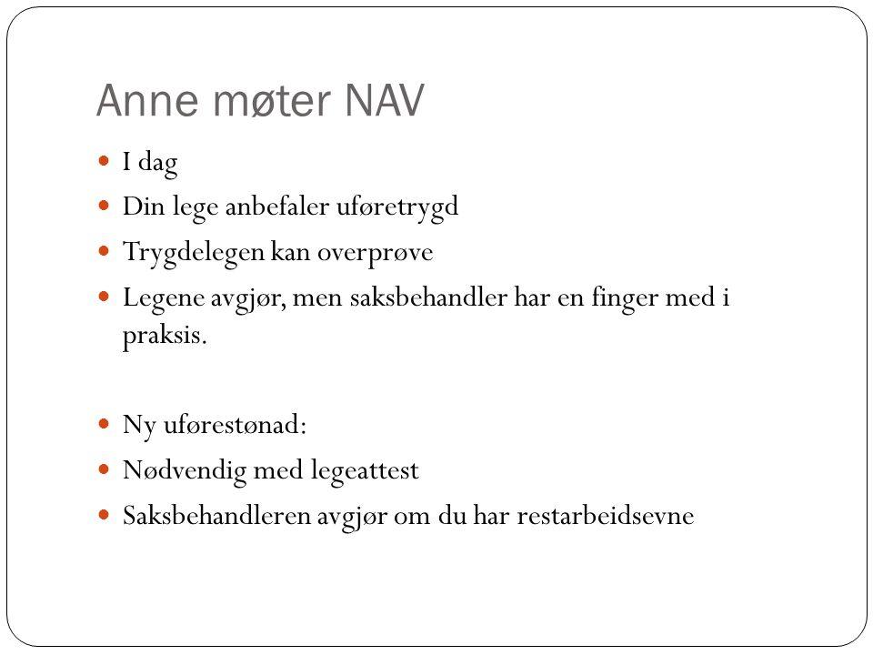 Anne møter NAV I dag Din lege anbefaler uføretrygd Trygdelegen kan overprøve Legene avgjør, men saksbehandler har en finger med i praksis.
