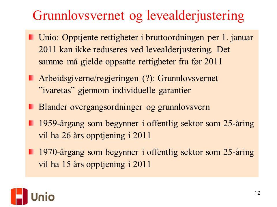 12 Grunnlovsvernet og levealderjustering Unio: Opptjente rettigheter i bruttoordningen per 1.