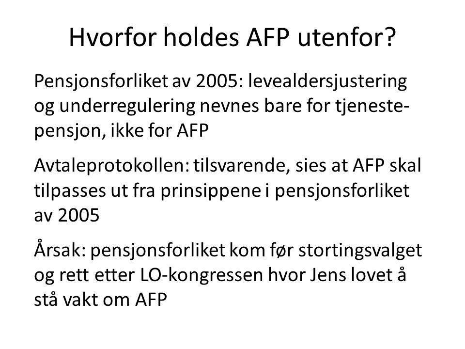 Hvorfor holdes AFP utenfor? Pensjonsforliket av 2005: levealdersjustering og underregulering nevnes bare for tjeneste- pensjon, ikke for AFP Avtalepro