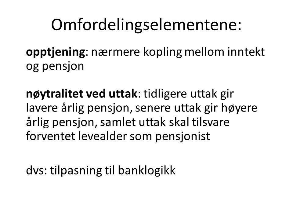 Omfordelingselementene: opptjening: nærmere kopling mellom inntekt og pensjon nøytralitet ved uttak: tidligere uttak gir lavere årlig pensjon, senere