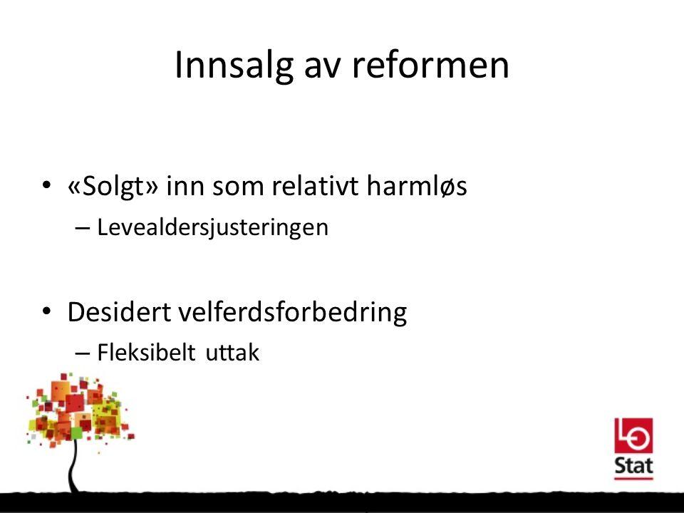 Innsalg av reformen «Solgt» inn som relativt harmløs – Levealdersjusteringen Desidert velferdsforbedring – Fleksibelt uttak