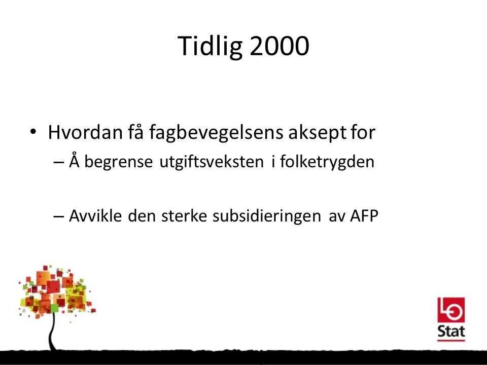 Tidlig 2000 Hvordan få fagbevegelsens aksept for – Å begrense utgiftsveksten i folketrygden – Avvikle den sterke subsidieringen av AFP