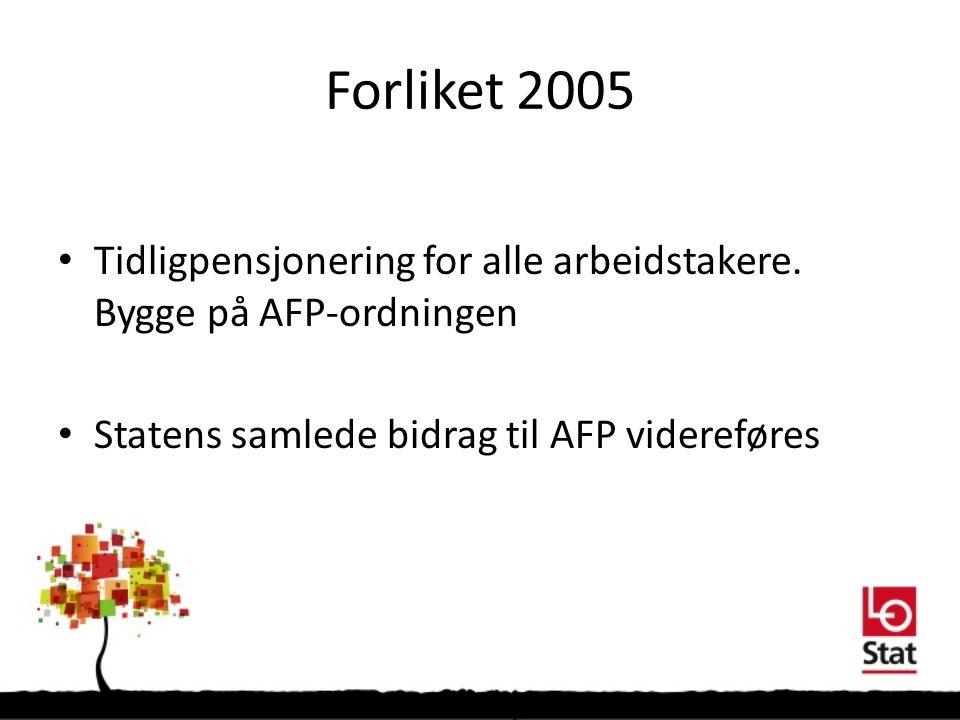 Forliket 2005 Tidligpensjonering for alle arbeidstakere.