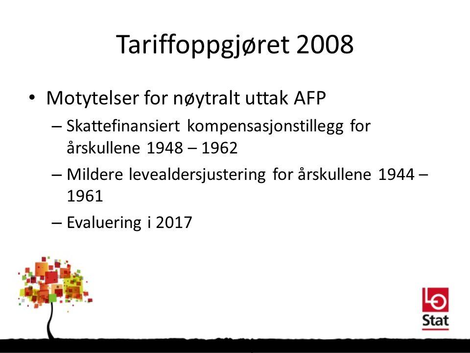 Tariffoppgjøret 2008 Motytelser for nøytralt uttak AFP – Skattefinansiert kompensasjonstillegg for årskullene 1948 – 1962 – Mildere levealdersjustering for årskullene 1944 – 1961 – Evaluering i 2017