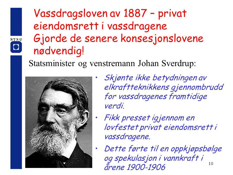 10 Vassdragsloven av 1887 – privat eiendomsrett i vassdragene Gjorde de senere konsesjonslovene nødvendig! Skjønte ikke betydningen av elkraftteknikke
