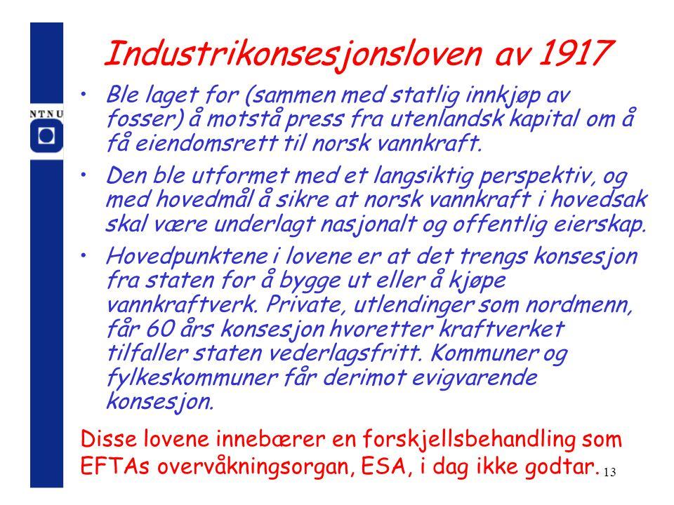 13 Industrikonsesjonsloven av 1917 Ble laget for (sammen med statlig innkjøp av fosser) å motstå press fra utenlandsk kapital om å få eiendomsrett til