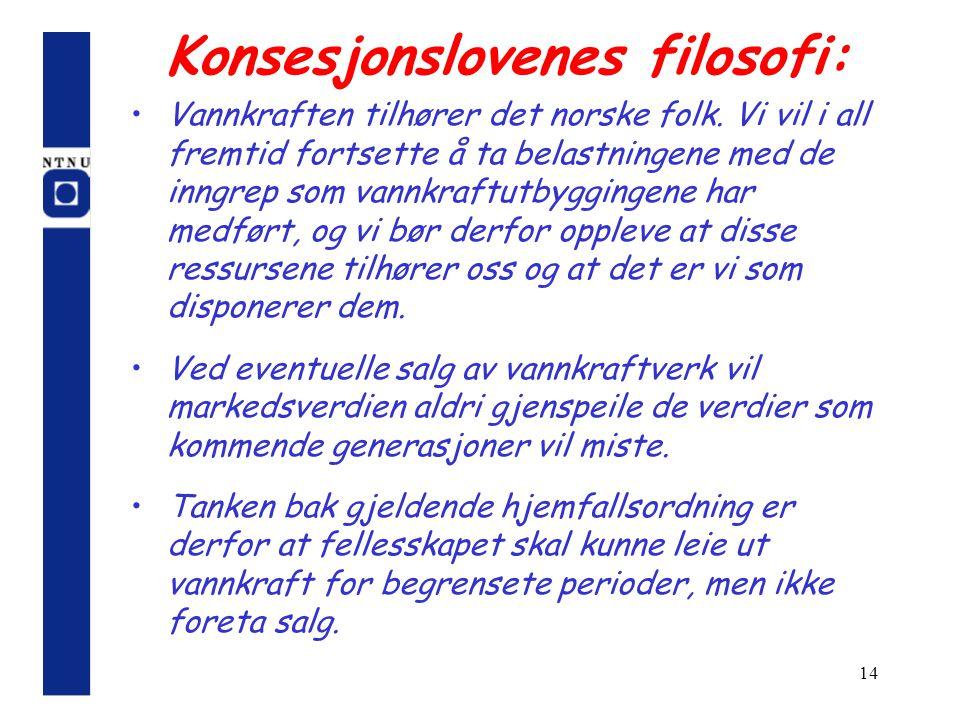14 Konsesjonslovenes filosofi: Vannkraften tilhører det norske folk. Vi vil i all fremtid fortsette å ta belastningene med de inngrep som vannkraftutb