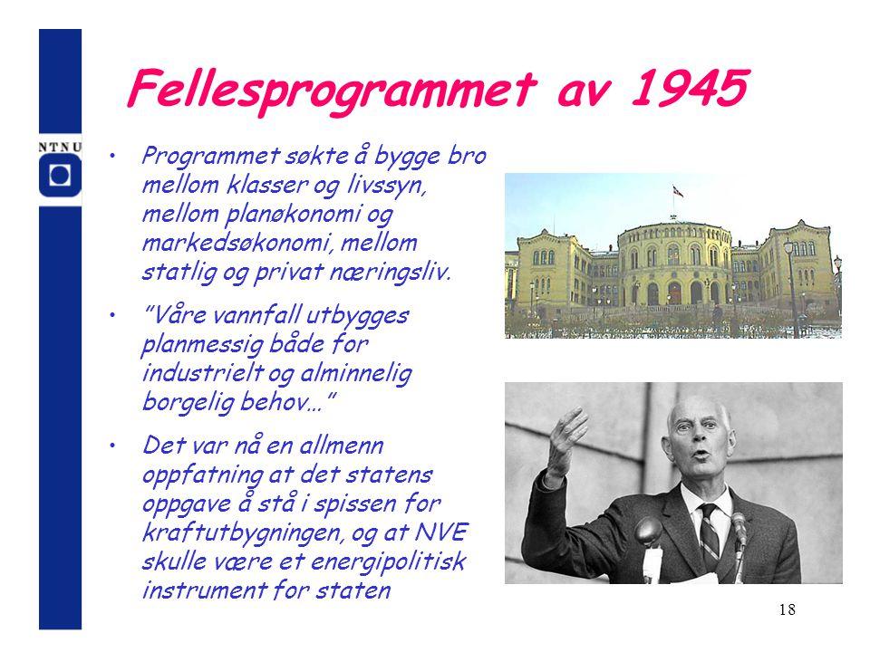 18 Fellesprogrammet av 1945 Programmet søkte å bygge bro mellom klasser og livssyn, mellom planøkonomi og markedsøkonomi, mellom statlig og privat nær