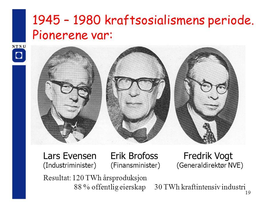 19 1945 – 1980 kraftsosialismens periode. Pionerene var: Lars Evensen Erik Brofoss Fredrik Vogt (Industriminister) (Finansminister) (Generaldirektør N