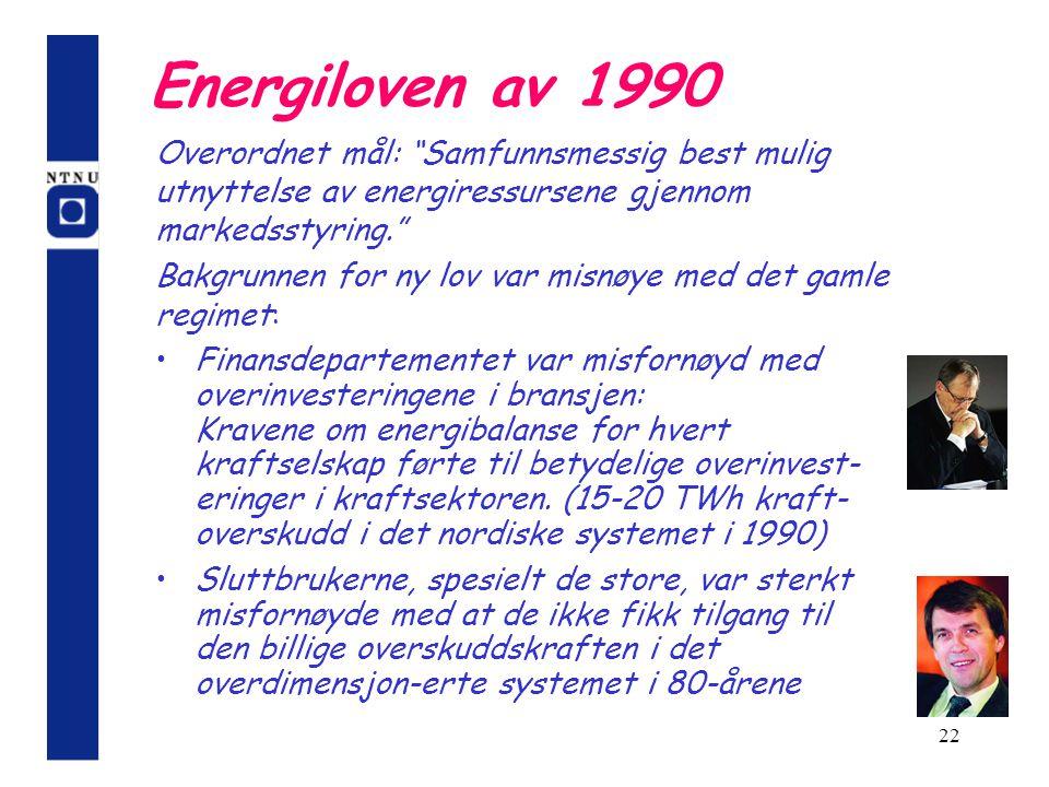 22 Energiloven av 1990 Finansdepartementet var misfornøyd med overinvesteringene i bransjen: Kravene om energibalanse for hvert kraftselskap førte til