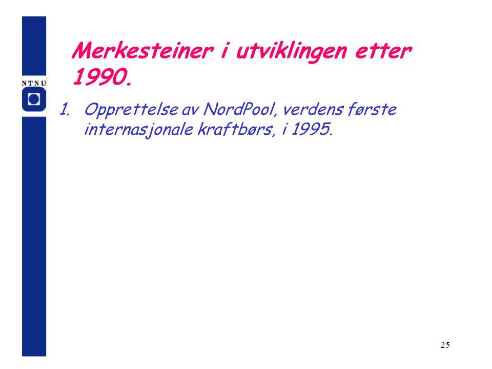 25 Merkesteiner i utviklingen etter 1990. 1.Opprettelse av NordPool, verdens første internasjonale kraftbørs, i 1995.