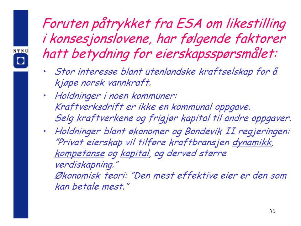30 Foruten påtrykket fra ESA om likestilling i konsesjonslovene, har følgende faktorer hatt betydning for eierskapsspørsmålet: Stor interesse blant ut