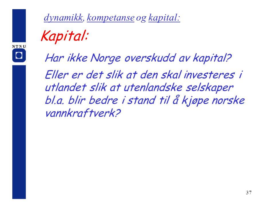 37 Kapital: Har ikke Norge overskudd av kapital? Eller er det slik at den skal investeres i utlandet slik at utenlandske selskaper bl.a. blir bedre i