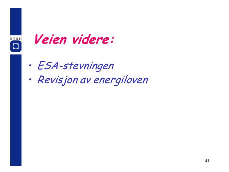 41 Veien videre: ESA-stevningen Revisjon av energiloven