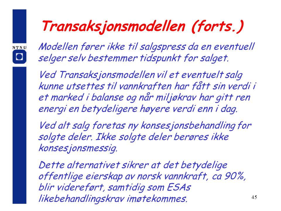 45 Transaksjonsmodellen (forts.) Modellen fører ikke til salgspress da en eventuell selger selv bestemmer tidspunkt for salget. Ved Transaksjonsmodell