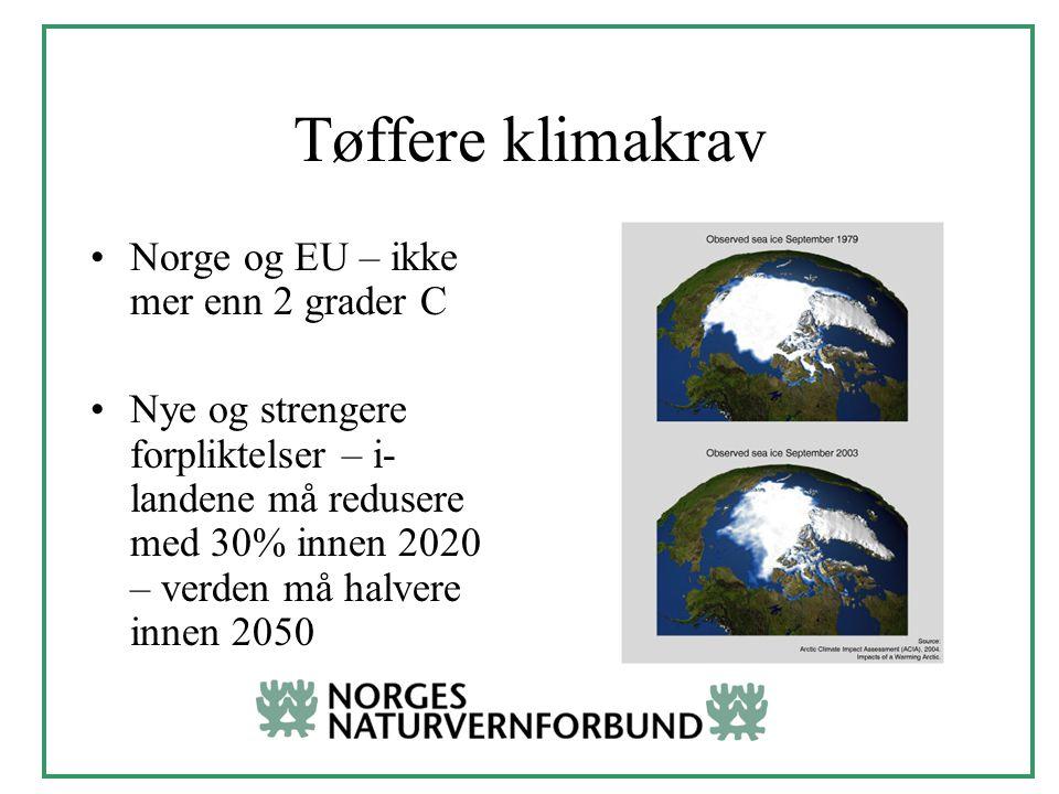 Tøffere klimakrav Norge og EU – ikke mer enn 2 grader C Nye og strengere forpliktelser – i- landene må redusere med 30% innen 2020 – verden må halvere innen 2050