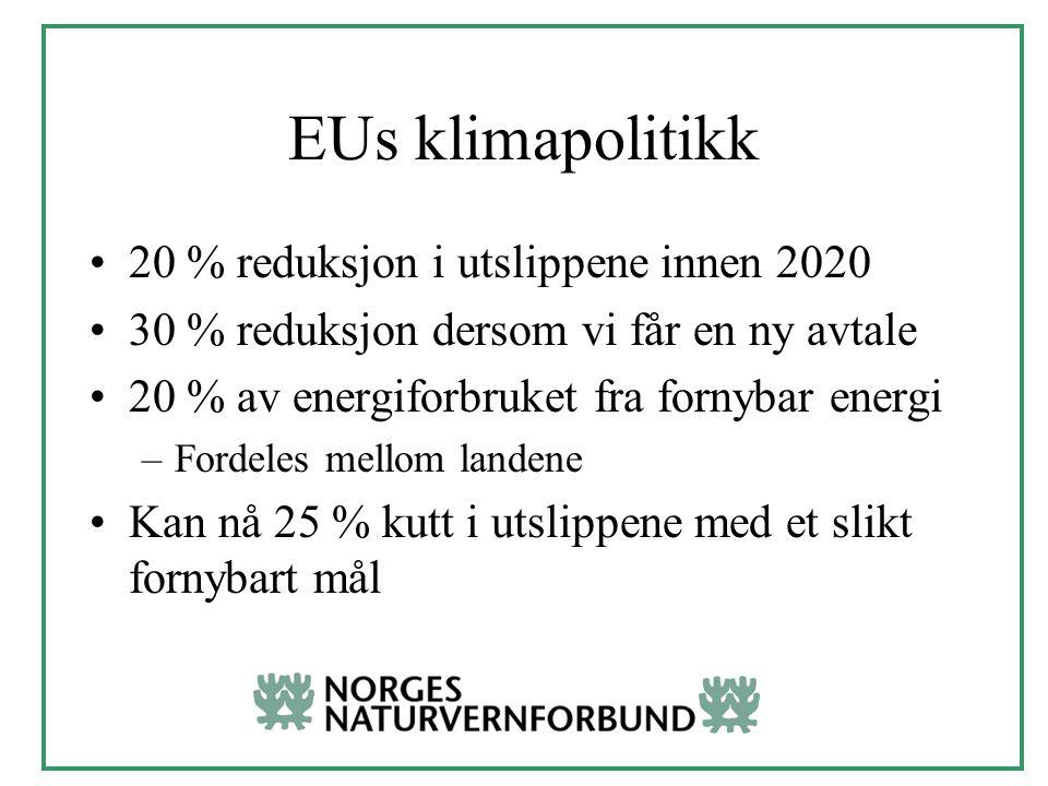 EUs klimapolitikk 20 % reduksjon i utslippene innen 2020 30 % reduksjon dersom vi får en ny avtale 20 % av energiforbruket fra fornybar energi –Fordeles mellom landene Kan nå 25 % kutt i utslippene med et slikt fornybart mål
