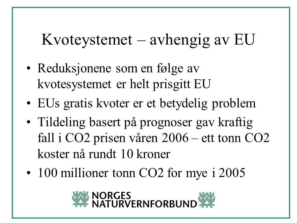 Kvoteystemet – avhengig av EU Reduksjonene som en følge av kvotesystemet er helt prisgitt EU EUs gratis kvoter er et betydelig problem Tildeling basert på prognoser gav kraftig fall i CO2 prisen våren 2006 – ett tonn CO2 koster nå rundt 10 kroner 100 millioner tonn CO2 for mye i 2005