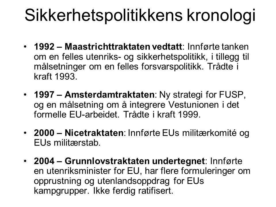 Sikkerhetspolitikkens kronologi 1992 – Maastrichttraktaten vedtatt: Innførte tanken om en felles utenriks- og sikkerhetspolitikk, i tillegg til målsetninger om en felles forsvarspolitikk.