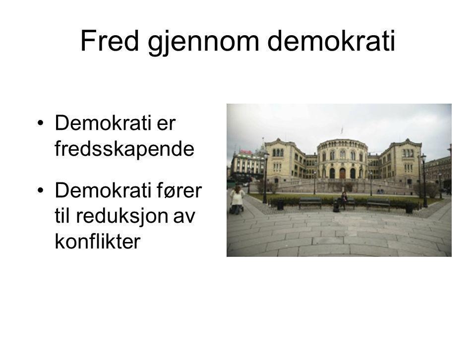 Fred gjennom demokrati Demokrati er fredsskapende Demokrati fører til reduksjon av konflikter