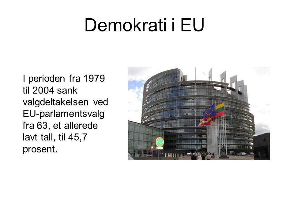 Demokrati i EU I perioden fra 1979 til 2004 sank valgdeltakelsen ved EU-parlamentsvalg fra 63, et allerede lavt tall, til 45,7 prosent.