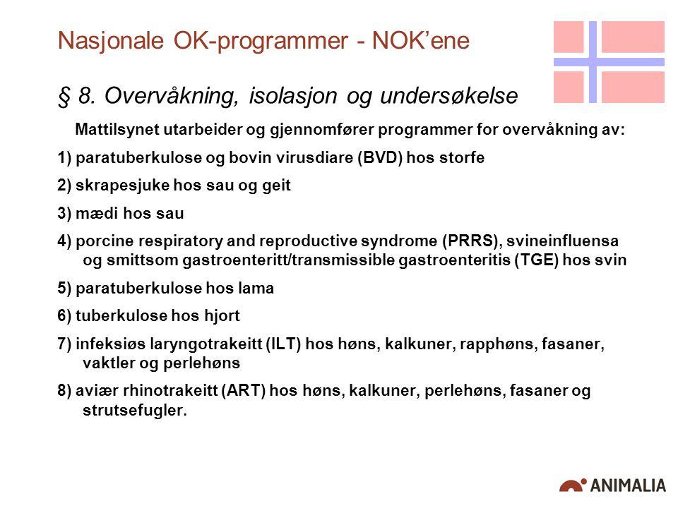 Nasjonale OK-programmer - NOK'ene § 8. Overvåkning, isolasjon og undersøkelse Mattilsynet utarbeider og gjennomfører programmer for overvåkning av: 1)