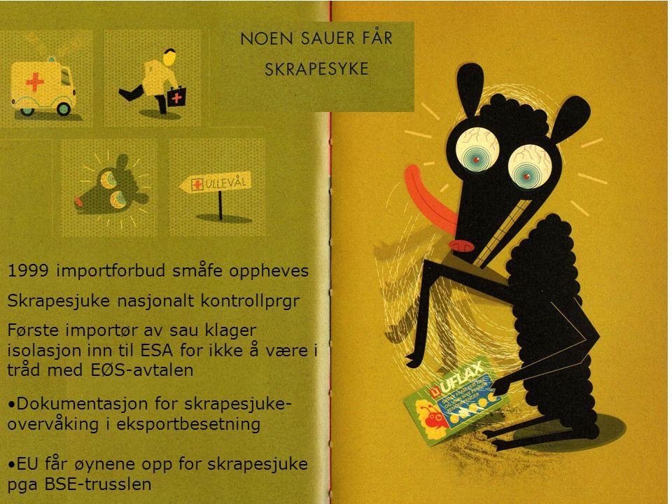 1999 importforbud småfe oppheves Skrapesjuke nasjonalt kontrollprgr Første importør av sau klager isolasjon inn til ESA for ikke å være i tråd med EØS-avtalen Dokumentasjon for skrapesjuke- overvåking i eksportbesetning EU får øynene opp for skrapesjuke pga BSE-trusslen
