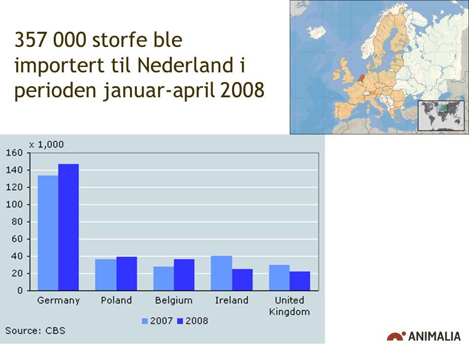 357 000 storfe ble importert til Nederland i perioden januar-april 2008