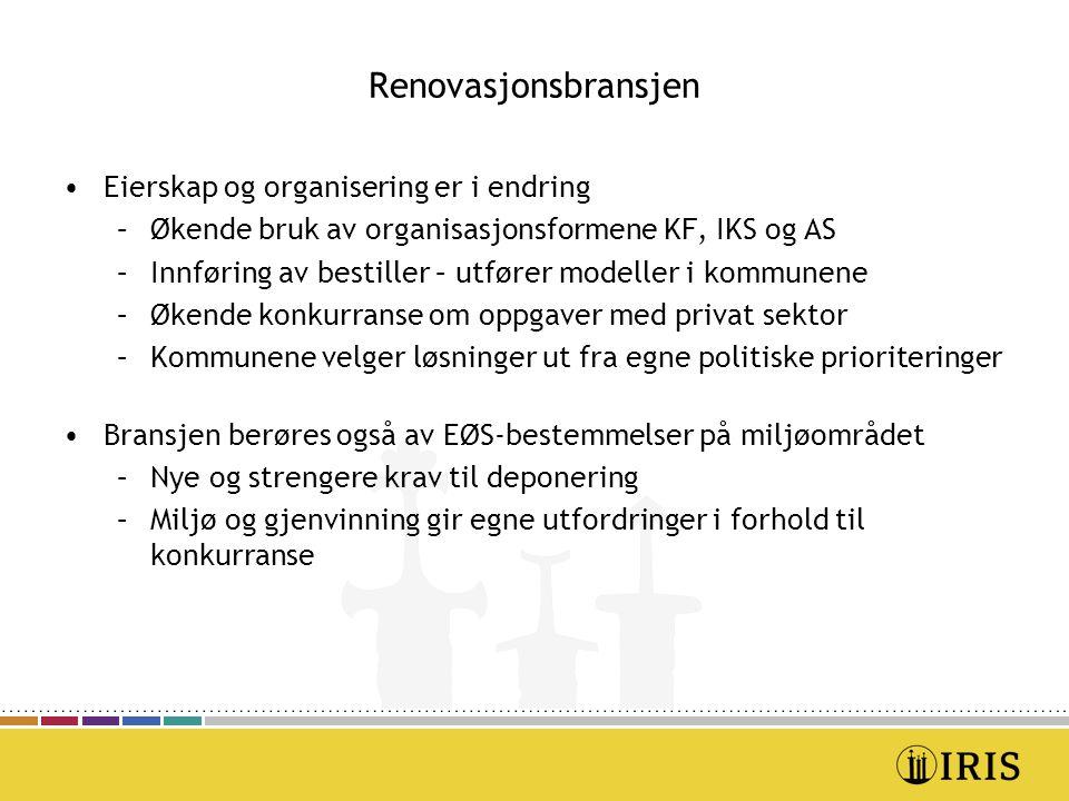 Renovasjonsbransjen Eierskap og organisering er i endring –Økende bruk av organisasjonsformene KF, IKS og AS –Innføring av bestiller – utfører modelle