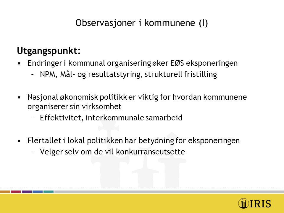 Observasjoner i kommunene (I) Utgangspunkt: Endringer i kommunal organisering øker EØS eksponeringen –NPM, Mål- og resultatstyring, strukturell fristi