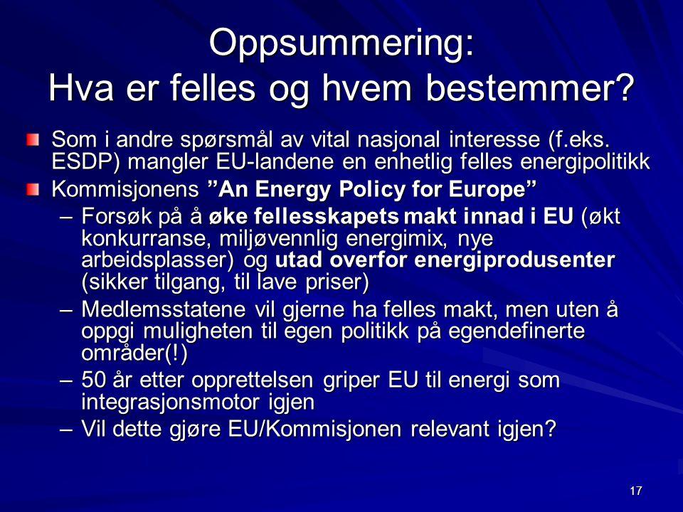 17 Oppsummering: Hva er felles og hvem bestemmer? Som i andre spørsmål av vital nasjonal interesse (f.eks. ESDP) mangler EU-landene en enhetlig felles